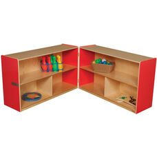 Wooden 6 Compartment Double Folding Mobile Storage Unit - Strawberry - 96