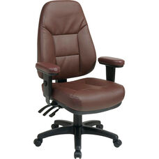 Work Smart Executive High Back Dual Function Ergonomic Office Chair with Height Adjustable Padded Arms - Burgundy
