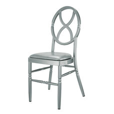 Velika Series Stackable Sand Glass Aluminum Dining Chair Silver Vinyl Cushion - Silver