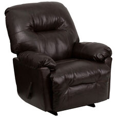 Contemporary Bentley Brown LeatherSoft Chaise Rocker Recliner