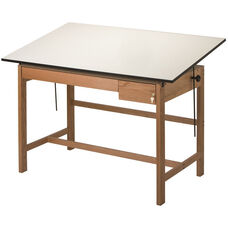 Titan II Solid Oak Drafting Table - 37.5