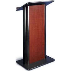 Flat Panel Lectern with Black Anodized Aluminum - Cherry Finish - 26.75
