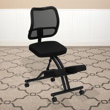 Mobile Ergonomic Kneeling Office Chair with Black Mesh Back