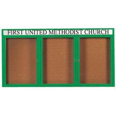 3 Door Indoor Illuminated Enclosed Bulletin Board with Header and Green Powder Coated Aluminum Frame - 36