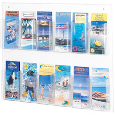 Clear2c™ Twelve Pamphlet Display with Break Resistant Plastic Pockets - Clear