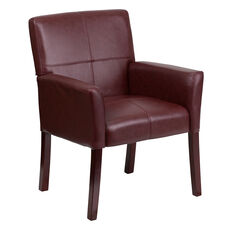 Burgundy Leather Executive Side Reception Chair with Mahogany Legs