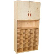 Vertical Locking Storage Cabinet with 20 Plastic Wicker Baskets - 36