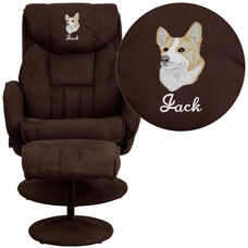 Embroidered Contemporary Brown Microfiber Recliner and Ottoman with Circular Microfiber Wrapped Base