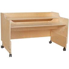 Contender Mobile Wooden Computer Desk - Assembled - 48
