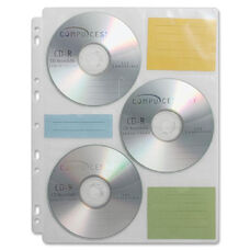 Compucessory Cd/Dvd Ring Binder Storage Pages - Pack Of 25