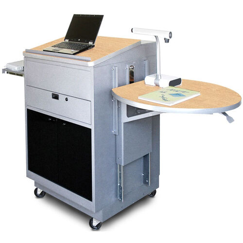 Our Vizion Sit Stand Mobile Teaching Center with Acrylic Doors and Lectern - Silver Powdercoat Paint and Kingsington Maple Laminate is on sale now.