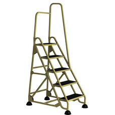 Stop Step 5 Step Ladder with Single Right Handrail - Beige