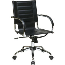 Ave Six Trinidad Vinyl Contoured Seat Office Chair with Chrome Base and Casters - Black