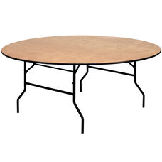 6-Foot Round Wood Folding Banquet Table with Clear Coated Finished Top