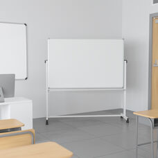 """HERCULES Series 64.25""""W x 64.75""""H Double-Sided Mobile White Board with Pen Tray"""