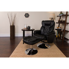 Transitional Multi-Position Recliner and Ottoman with Chrome Base in Black LeatherSoft