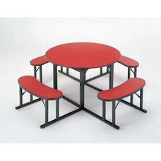 Customizable Round Backless Break Room Table with 4 Built in Benches - 60