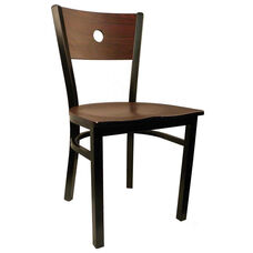 Moon Back Chair with Metal Frame and Veneer Seat and Back in Mahogany Finish
