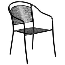 Black Indoor-Outdoor Steel Patio Arm Chair with Round Back