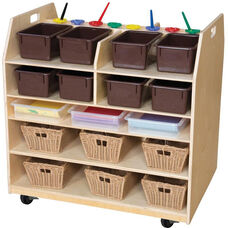 Wooden Trolley Mobile Art Cart with 12 Brown Plastic Trays - 37