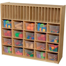 Wooden Multi-Storage Unit with 20 Clear Plastic Storage Trays - 48