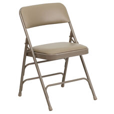 HERCULES Series Curved Triple Braced & Double Hinged Beige Vinyl Fabric Metal Folding Chair