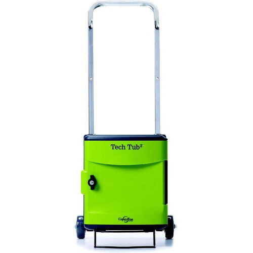 Our Rolling 6 Port Tech Tub2® Trolley with Adjustable Shelf Dividers and Internal Cable Organizers - 19.5