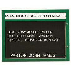 Single Sided Illuminated Community Board with Header and Green Powder Coat Finish - 36