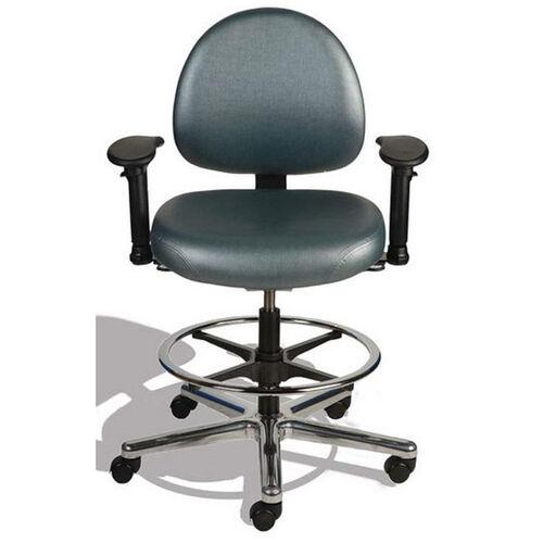 Triton Medium Back Mid-Height Drafting Cleanroom ESD Chair with 350 lb. Capacity - 4 Way Control - Black Vinyl