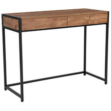 Cumberland Collection Computer Desk with Two Full-Length Drawers in Rustic Wood Grain Finish