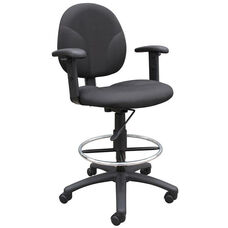 Contoured Seat Fabric Drafting Stool with Foot Ring and Adjustable Arms - Black