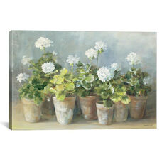 White Geraniums by Danhui Nai Gallery Wrapped Canvas Artwork