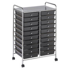 20 Drawer Mobile Organizer with Chrome-Plated Top Shelf and Smoke Colored Pullout Drawers