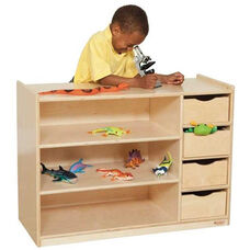 Storage Center with 3 Fixed Shelves and 4 Slide-Out Drawers - Assembled - 36