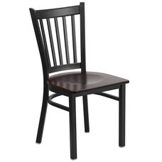 Black Vertical Back Metal Restaurant Chair with Walnut Wood Seat
