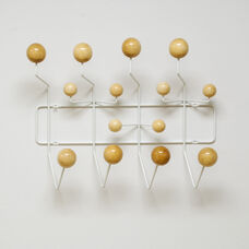 Wall Hanging White Metal Coat Rack with Natural Colored Wood Bubbles