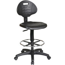 Work Smart Intermediate Drafting Chair with Adjustable Footrest and Dual Wheel Carpet Casters - Black