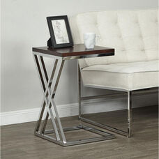 Ave Six Wall Street Multi-Purpose Side Table with Chrome Frame - Espresso