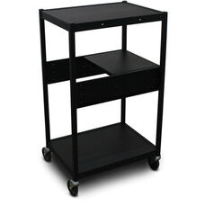 Vizion Spartan Series Classroom Media Projector Cart with One Pull-Out Side-Shelf - Black