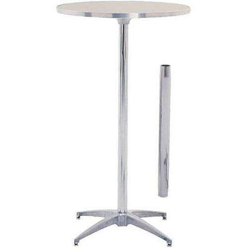 Our Standard Series Round Pedestal Table with Height Adjustable Columns, Chrome Plated Steel Column, and Plywood Top - 36