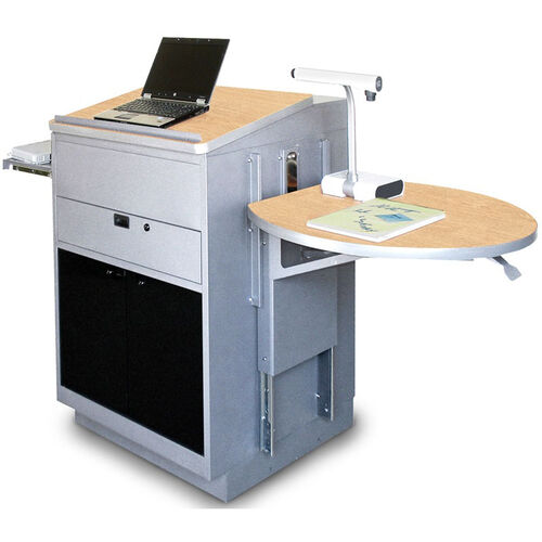 Our Vizion Collabritive Stationary Teachering Center Lectern with Acrylic Doors - Silver Powdercoat Paint and Kensington Maple Laminate is on sale now.