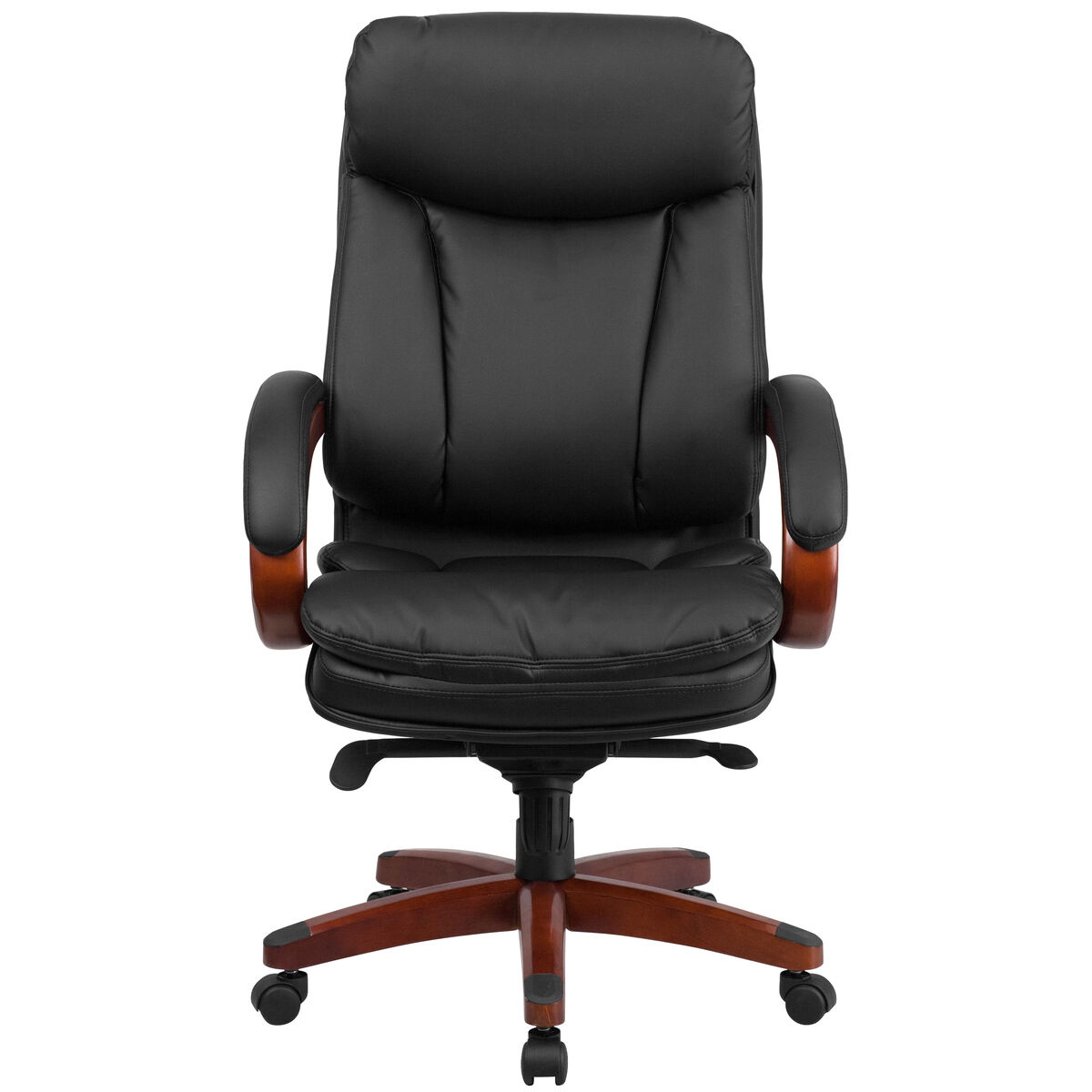 Fabulous High Back Black Leather Executive Ergonomic Office Chair With Synchro Tilt Mechanism Mahogany Wood Base And Arms Spiritservingveterans Wood Chair Design Ideas Spiritservingveteransorg