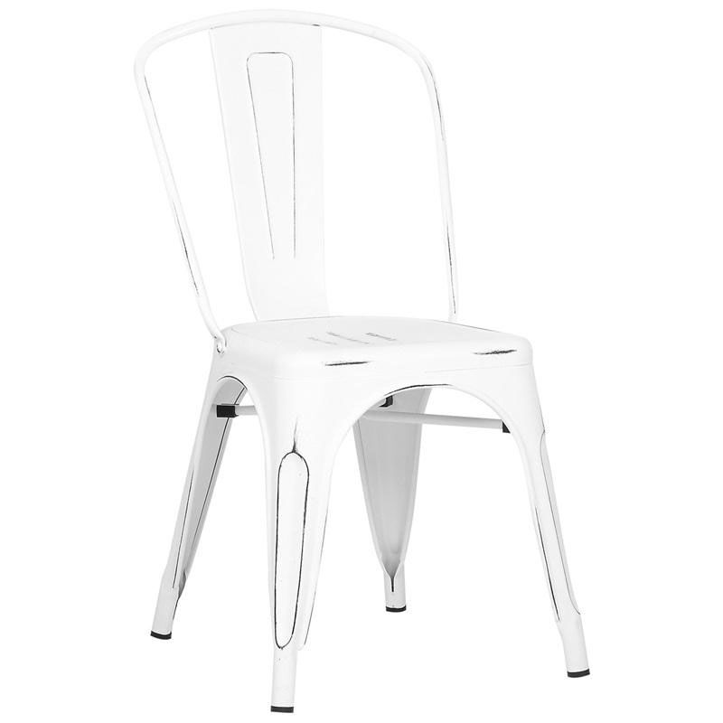 ... Our Dreux Vintage Matte White With Black Distressed Stackable Steel  Armless Side Chair   Set Of ...