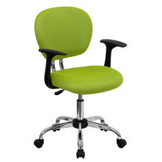 Mid-Back Apple Green Mesh Swivel Task Chair with Chrome Base and Arms