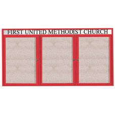 3 Door Outdoor Illuminated Enclosed Bulletin Board with Header and Red Powder Coated Aluminum Frame - 48