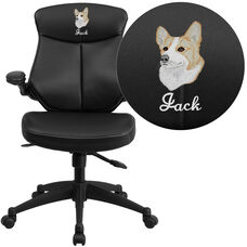 Embroidered Mid-Back Black Leather Executive Swivel Chair with Back Angle Adjustment and Flip-Up Arms