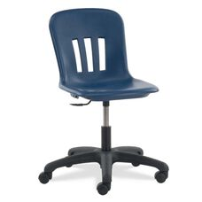 Quick Ship Metaphor Series Task Chair with Navy Polypropylene Seat and Black Base - 24.13