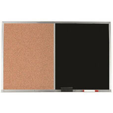 Aluminum Frame Combination Board with Natural Pebble Grain Cork Bulletin Board and Black Chalkboard