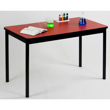 High Pressure Laminate Rectangular Lab Table with Black Base and T-Mold - Red Top - 24