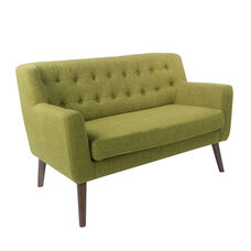 Ave Six Mill Lane Loveseat in Green Fabric with Coffee Legs